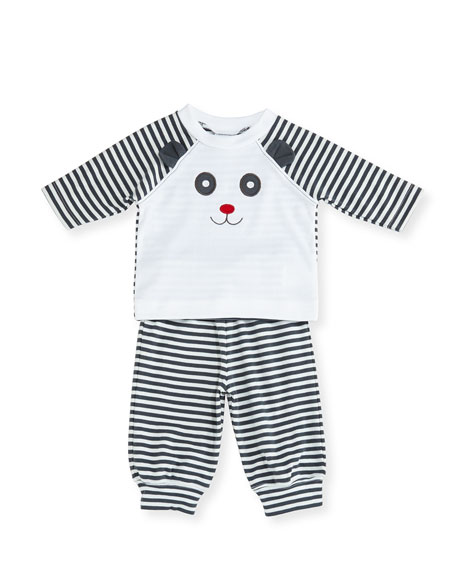 Florence Eiseman Striped Knit Panda Bear Top w/