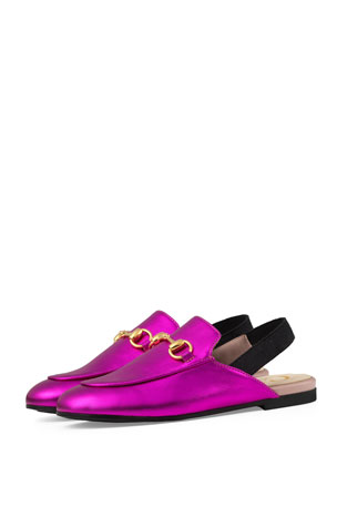 Gucci Princetown Junior Leather Horsebit Mule Slide, Toddler/Kids