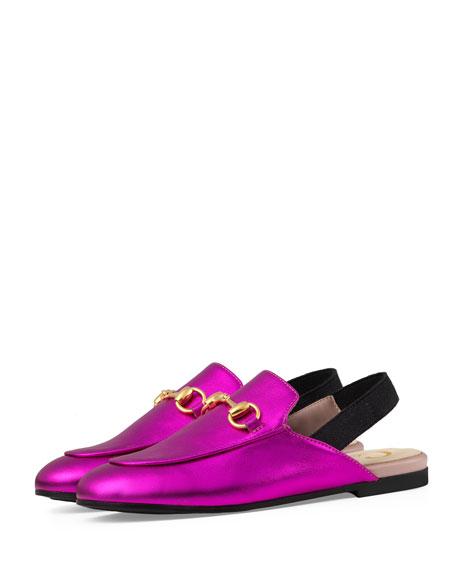 Gucci Princetown Junior Leather Horsebit Mule Slide, Kids'