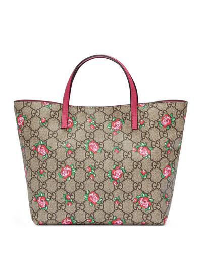 Girls' GG Supreme Rosebud Tote Bag, Beige
