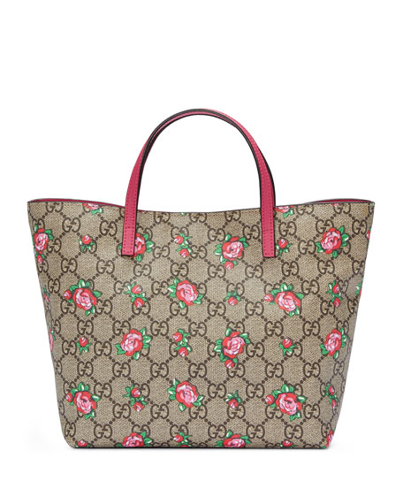 Gucci Girls' GG Supreme Rosebud Tote Bag, Beige