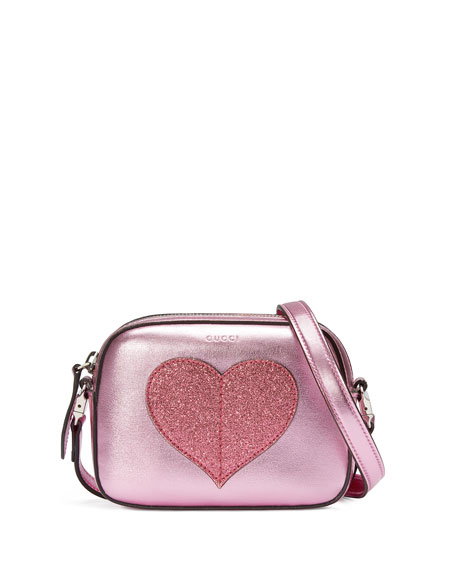 Gucci Girls' Metallic Leather Heart Crossbody Bag, Pink
