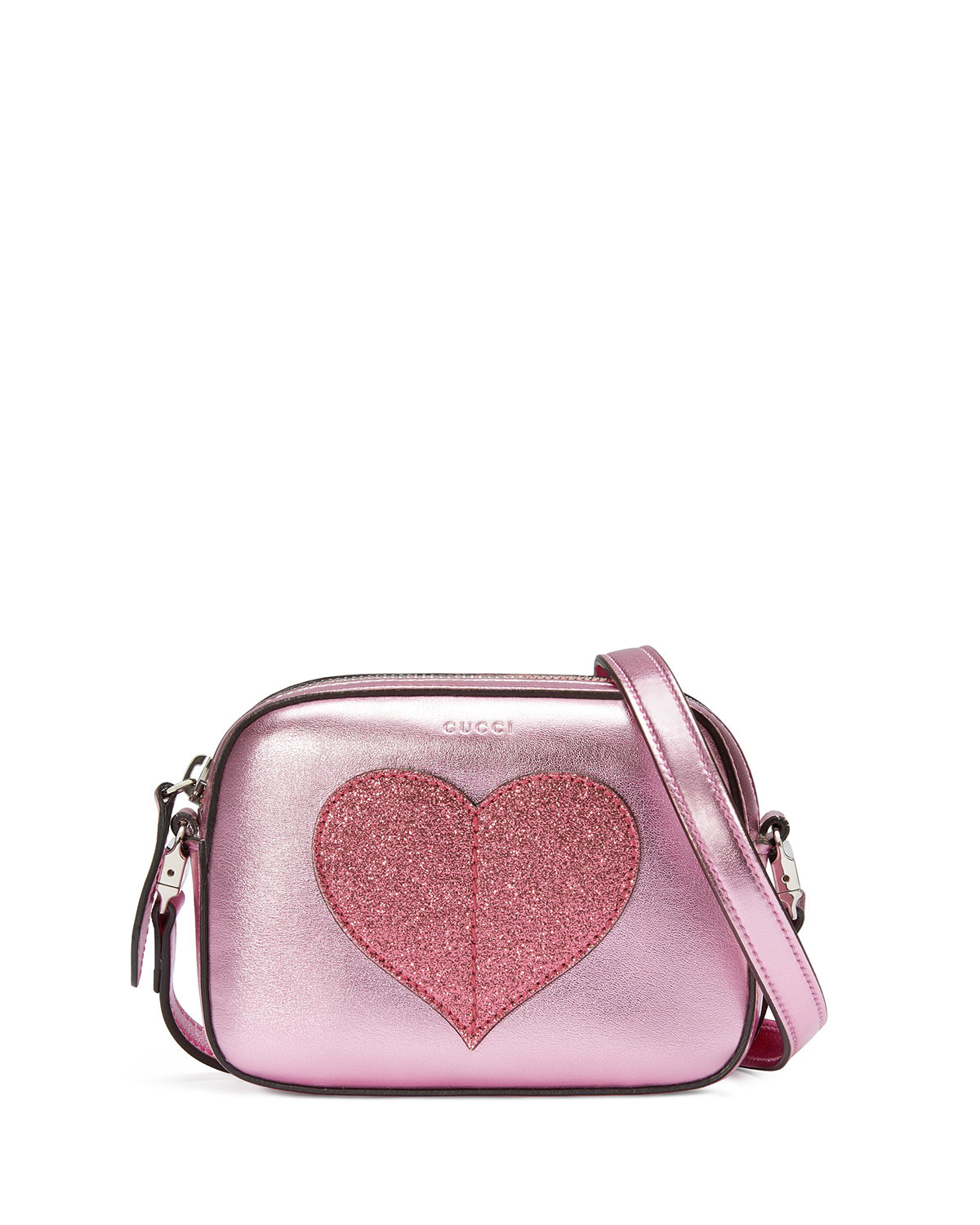 be213763c4ac8a Gucci Girls' Metallic Leather Heart Crossbody Bag, Pink | Neiman Marcus