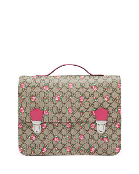 Gucci Girls' GG Supreme Rosebud Backpack