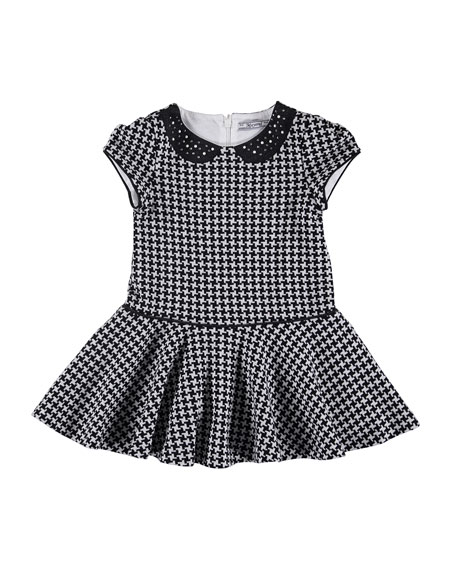 Embellished Houndstooth Dress, Size 3-7