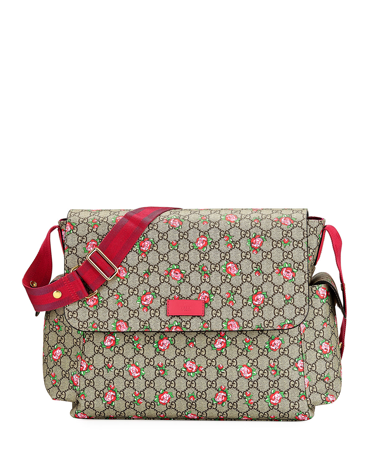 417434e689b86a Gucci GG Supreme Canvas Rosebud Diaper Bag w/ Changing Pad | Neiman ...