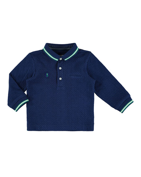 Mayoral Pin Dot-Print Polo Shirt, Navy, Size 6-36