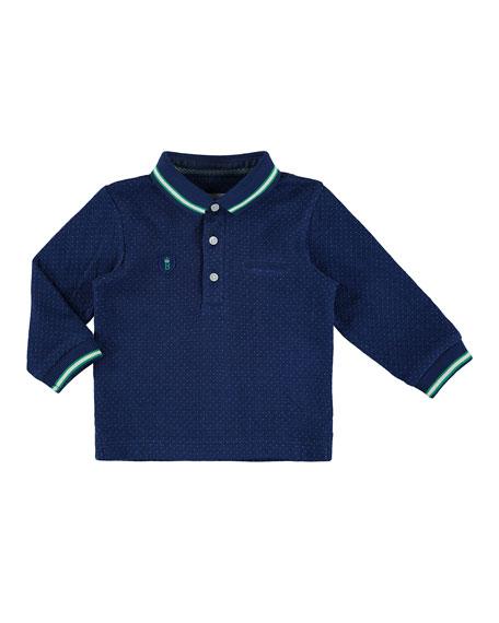 Mayoral Pin Dot-Print Polo Shirt, Navy, Size 6-36
