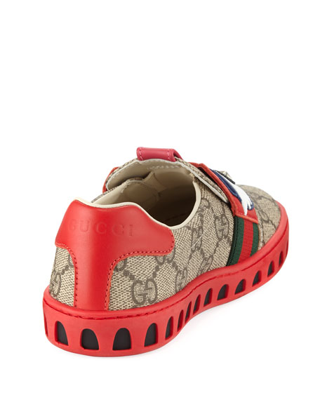 GG Supreme Canvas Sneaker w/ Owl Face, Youth
