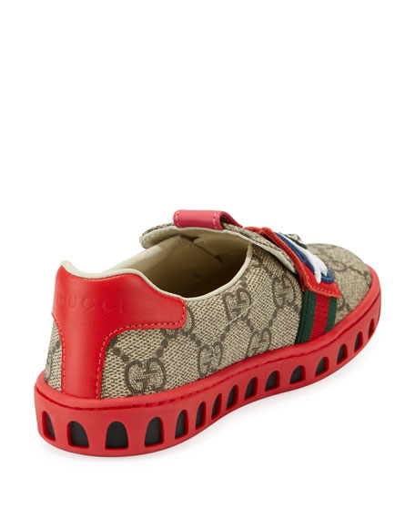GG Supreme Canvas Sneaker w/ Owl Face, Toddler Sizes 8-10