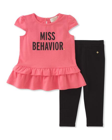 infant girls' miss behavior tee w/ leggings, size 12-24 months