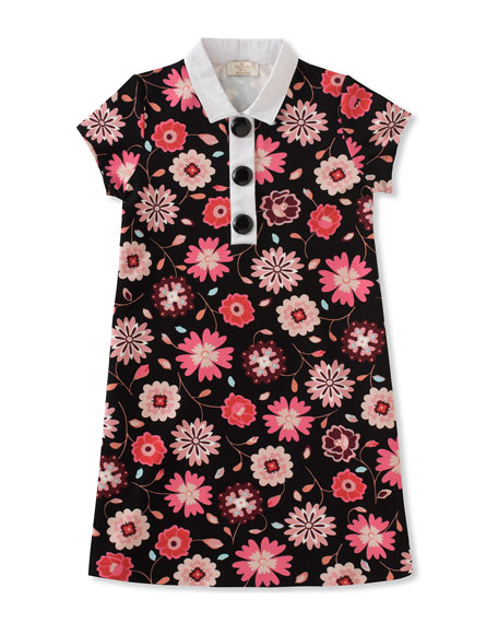 kate spade new york girls' floral-print collared shift