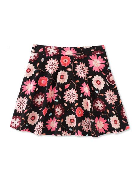 kate spade new york girls' floral-print skater skirt,