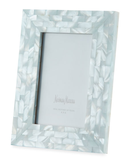 "Mother-of-Pearl Picture Frame, Blue, 4"" x 6"""