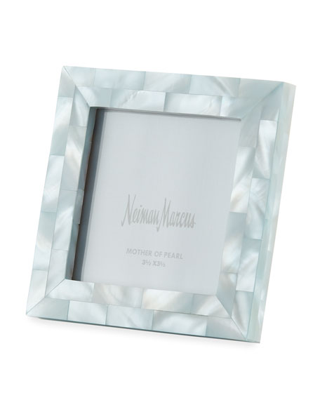 """Mother-of-Pearl Frame, Blue, 3.5"""" x 3.5"""""""