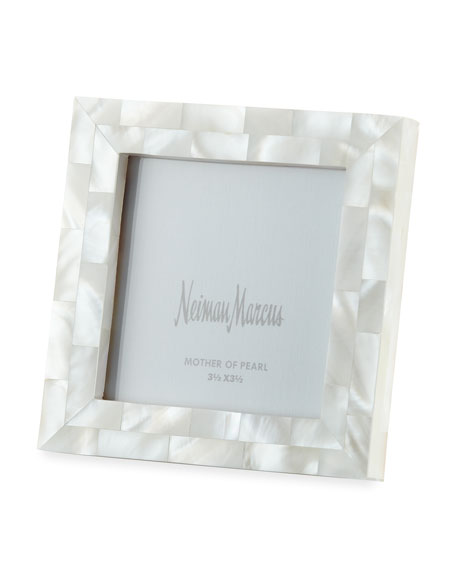"Mother-of-Pearl Picture Frame, White, 3.5"" x 3.5"""