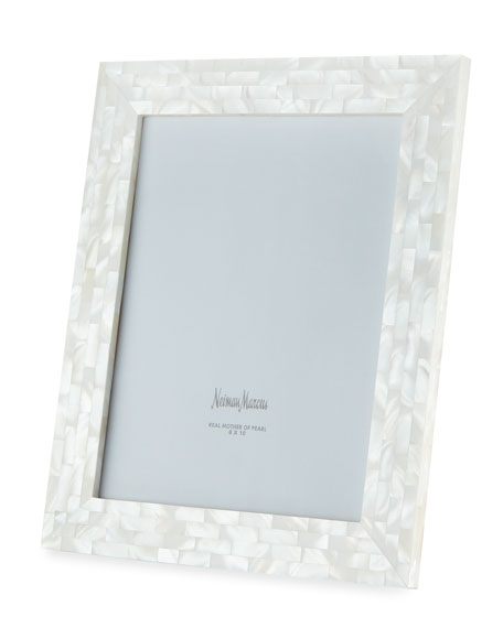 """Mother-of-Pearl Frame, White, 8"""" x 10"""""""