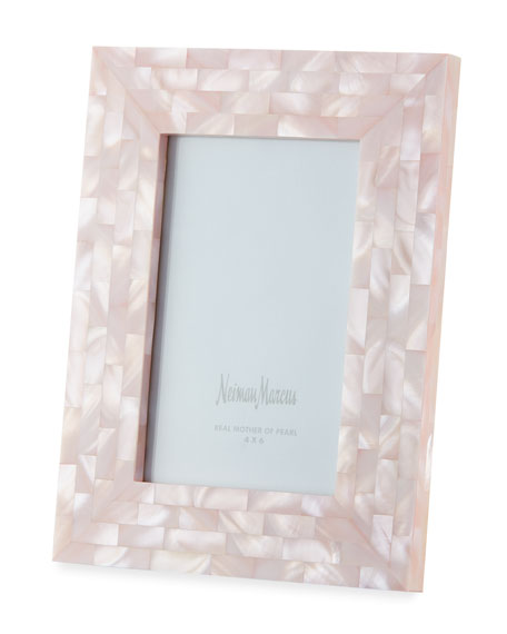 "Mother-of-Pearl Picture Frame, Pink, 4"" x 6"""