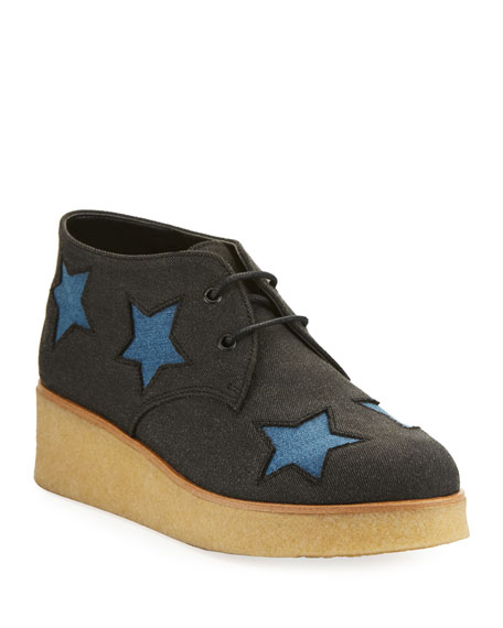 Stella McCartney Wendy Star-Patched Denim Platform Sneaker,