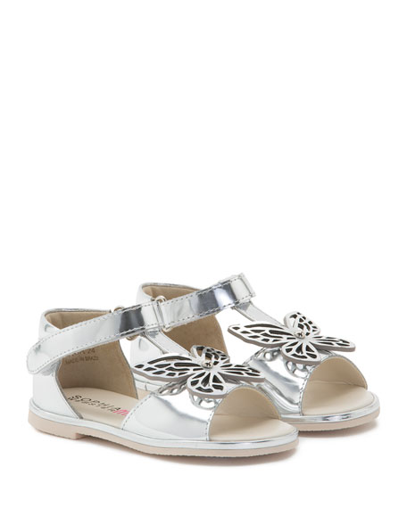 Flutterby Metallic Leather T-Strap Flat Sandal, Silver, Toddler/Youth Sizes 5T-2Y