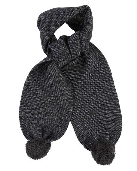 Karl Lagerfeld Kids' Knit Scarf w/ Pompoms