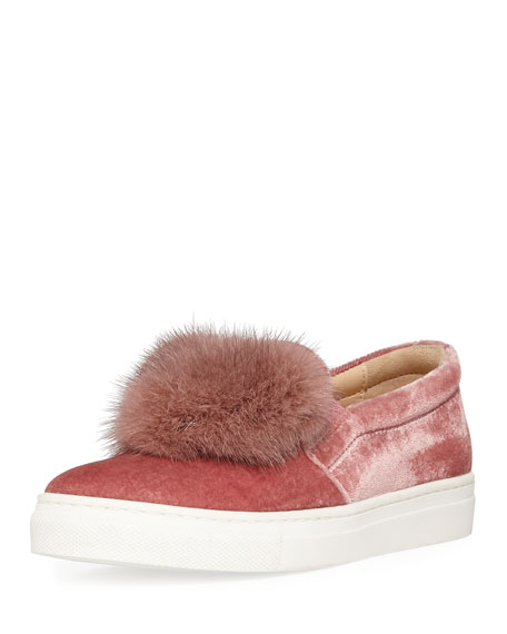 Aquazzura Fur Heart Slip-On Velvet Sneaker, Toddler/Youth Sizes