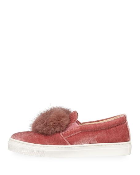 Fur Heart Slip-On Velvet Sneaker, Infant/Toddler