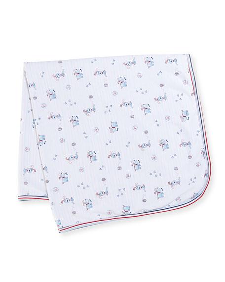Kissy Kissy Pup Paw-trol Printed Reversible Baby Blanket