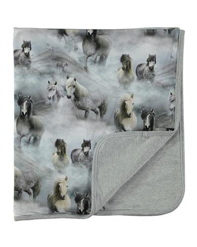 Neala Horse-Print Jersey Blanket