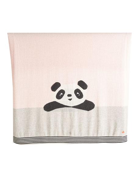 Panda Intarsia Knit Baby Blanket, Light Pink