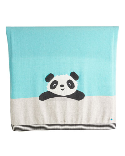 Panda Intarsia Knit Baby Blanket, Light Blue
