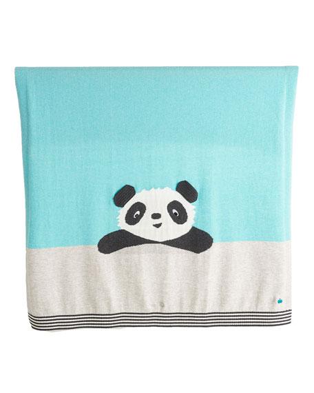 bonniemob Panda Intarsia Knit Baby Blanket, Light Blue