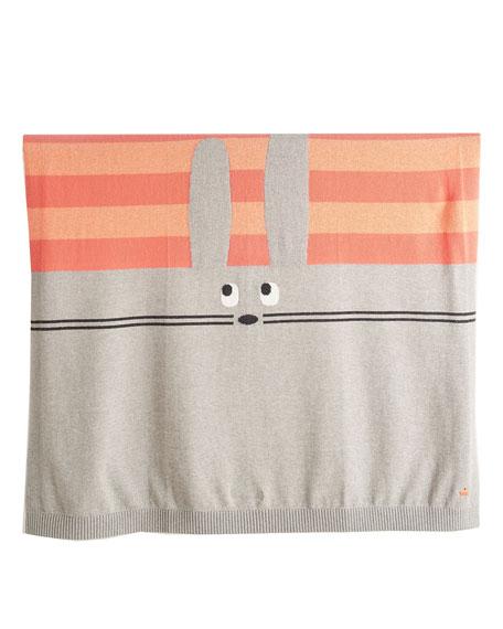 Bunny Intarsia Knit Baby Blanket, Pink