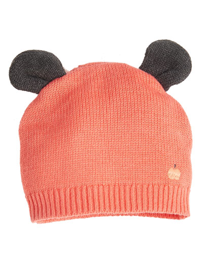 Knit Baby Hat w/ Ears, Pink
