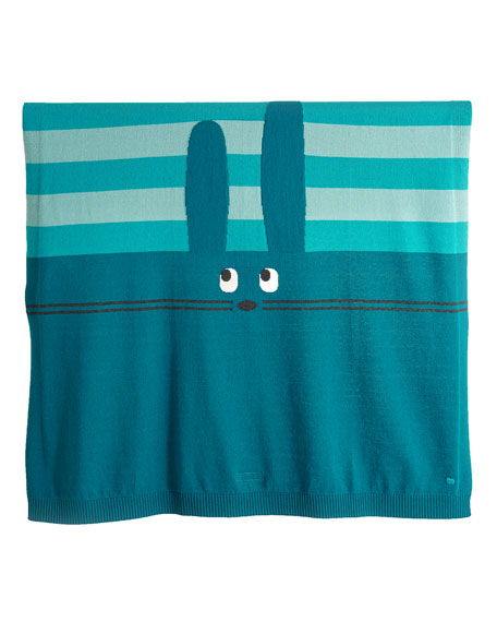 Bunny Intarsia Knit Baby Blanket, Teal