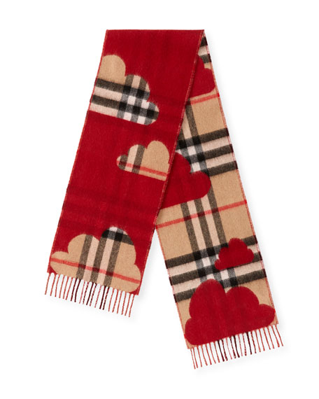 Burberry Kids' Rain Check Reversible Cashmere Scarf