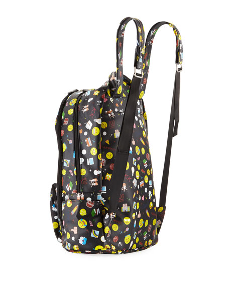 Kids' Emoji-Print Faux-Leather Backpack