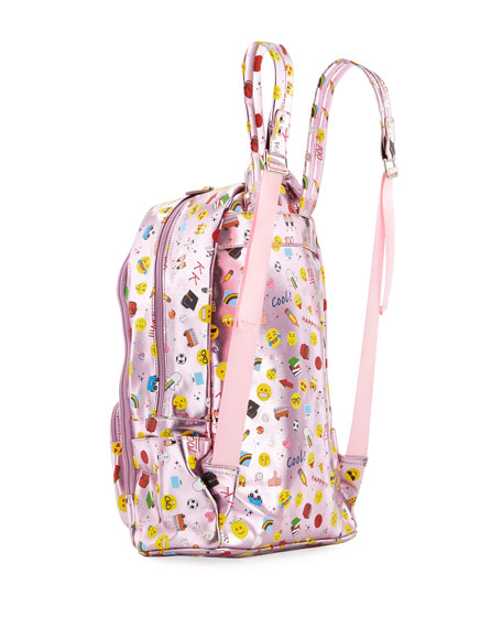 Kids' Metallic Emoji-Print Faux-Leather Backpack