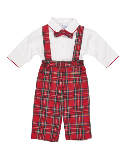 Tartan Plaid Suspender Pants w/ Shirt & Bow Tie, Size 9-24 Months