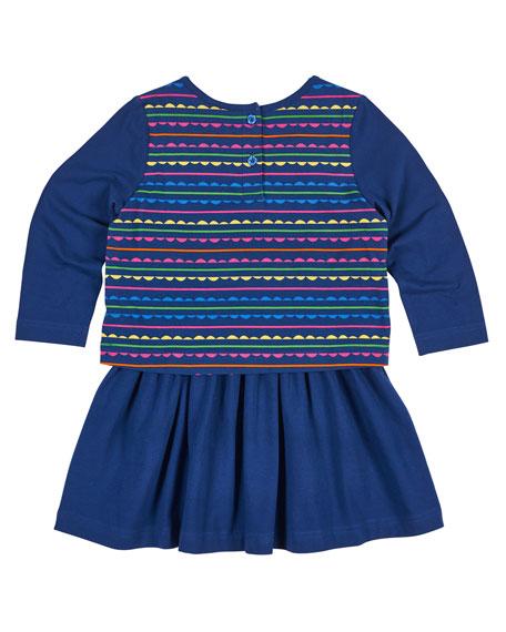 Scallop Stripe-Print Dress w/ Solid Skirt, Size 2-6X