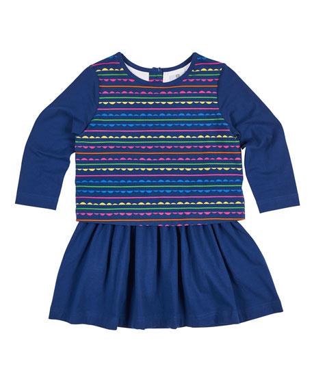 Florence Eiseman Scallop Stripe-Print Dress w/ Solid Skirt,