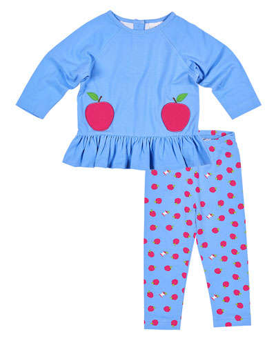 French Terry Top w/ Apple-Printed Leggings, Size 2-6X