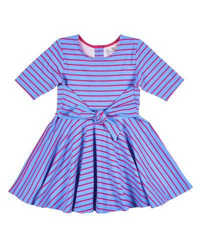 Stripe Dress w/ Waist Tie, Size 2-6X