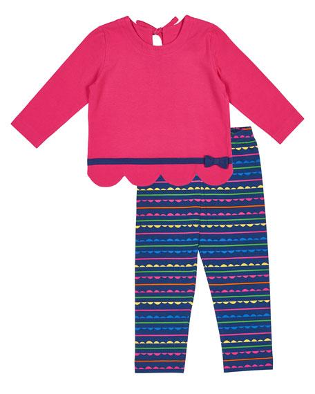 Florence Eiseman Scallop-Hem Bow Shirt w/ Striped Leggings,