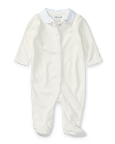 Velour Footie Pajamas w/ Flower Embroidery, White, Size Newborn-9 Months
