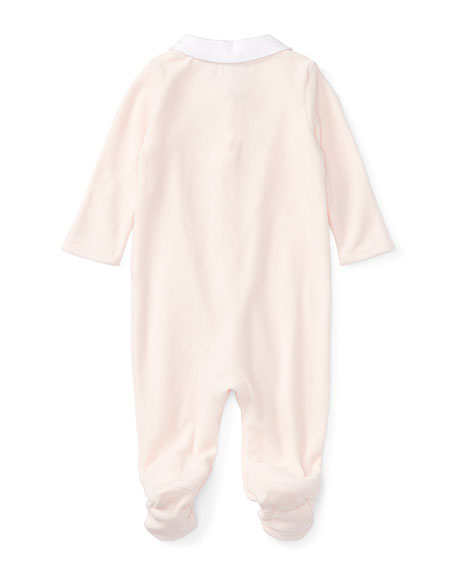 Velour Footie Pajamas w/ Flower Embroidery, White, Size Newborn-9 Months