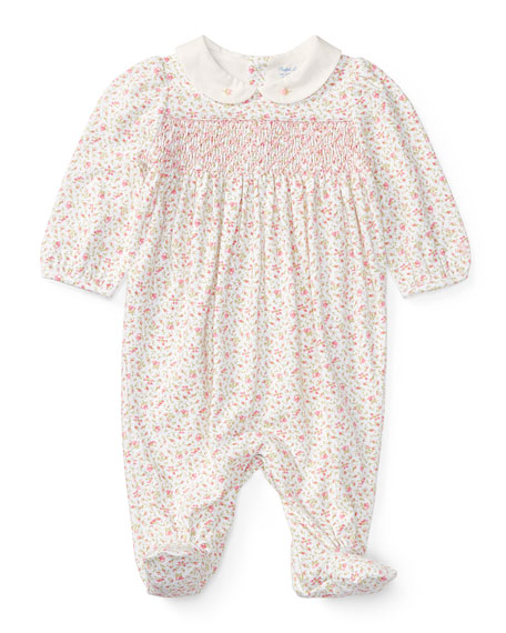 Ralph Lauren Childrenswear Floral-Print Smocked Footie Pajamas,
