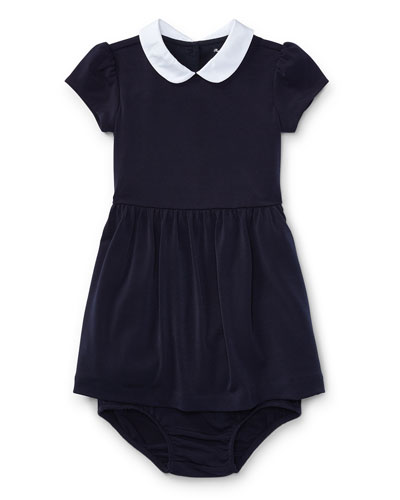Crepe Jersey Dress w/ Bloomers, Size 9-24 Months