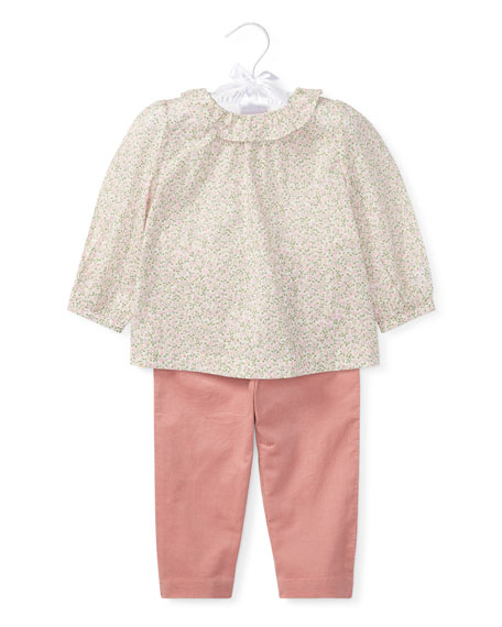 Ralph Lauren Childrenswear Floral Blouse w/ Pants, Size