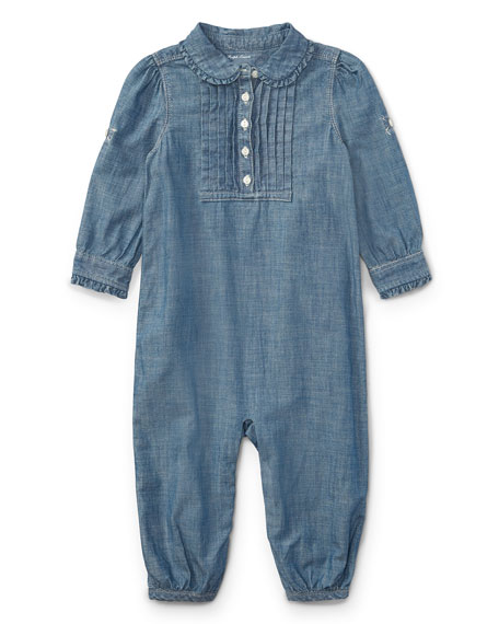 Ralph Lauren Childrenswear Chambray Ruffle-Trim Coverall, Size